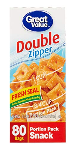 (Great Value Double Zipper Portion Pack Snack Bags, 80 Ct)