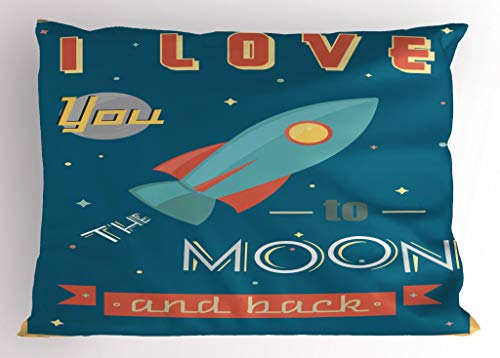 Ambesonne I Love You Pillow Sham, Spaceship Galaxy Stars Cosmos Love Theme Retro Inspirational Letters, Decorative Standard Queen Size Printed Pillowcase, 30