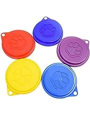 XZANTE 2 Piezas Cubiertas de Alimentos de Hojuela de Lata para Perro Mascota Reutilizable con Estampado Tapas de Plástico de Latas de Mascotas Frescas -Color Aleatorio