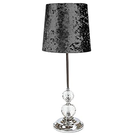 Luxe Crystal Table Lamp Gunmetal Amazon Co Uk Kitchen Home