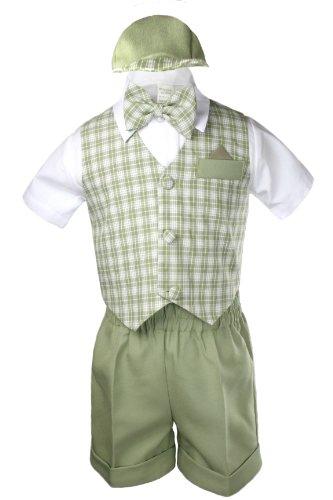 Unotux Boy Eton Formal Short Vest Set Suit S-4T (4T, Sage Green)