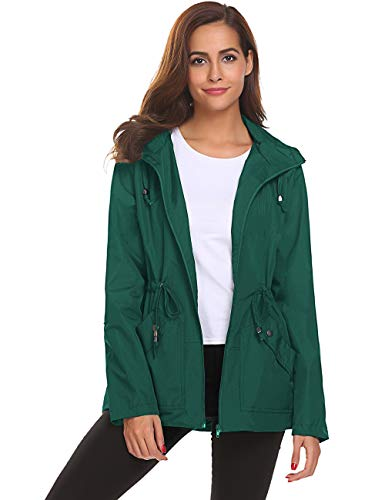Trenchcoat,Women's Water Proof Stylish Rain Jacket Drawstring(Dark Green,XL) (Best Stylish Rain Jacket)