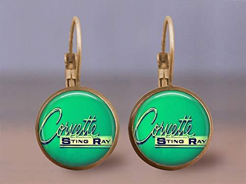 - Corvette Sting Ray Emblem Leverback Earrings- Bronze