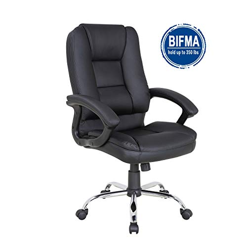 Leather Seat Ergonomic Chair - LCH PU Leather Office Chair Swivel Executive Chair with Tilt Function and Thick Seat, Ergonomic Computer Chair Headrest and Lumbar Support (Black)