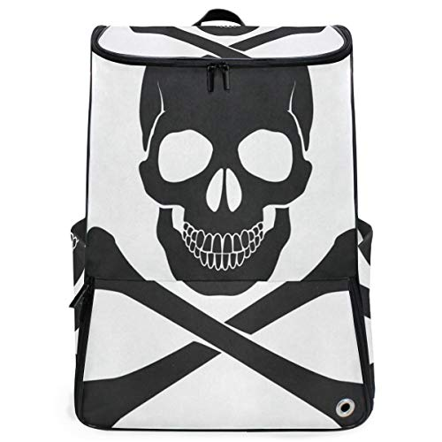 Laptop Backpack Skull Crossbones Icon College Backpack for Women Large Rucksack Bag