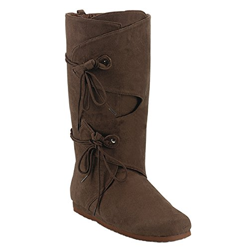 Pleaser Brown Renaissance Boot Costume Mens SizingMid Calf Boot Size: -