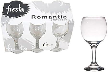 Cristal de globo cristal-Estuche de 6 copas de vino 24 cl Fiesta Romantic: Amazon.es: Hogar