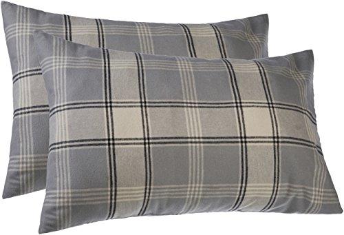 Price comparison product image Pinzon 160 Gram Plaid Flannel Pillowcases – Standard, Grey Plaid