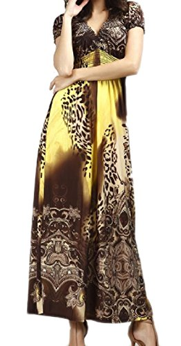 Beachwear Women Long Coolred Leopard Plus Dress Boho Notch Yellow Painting Size Collar Ywx6qfw