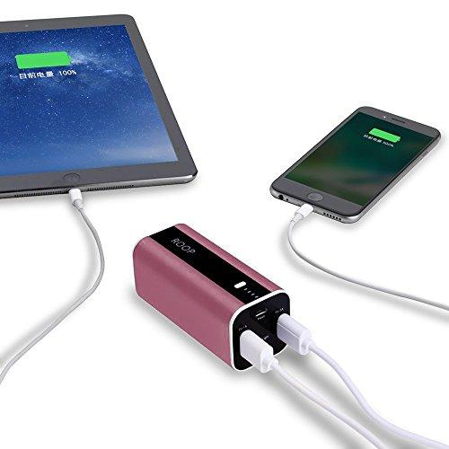 Roop - Batería externa de carga rápida, 12.000 mAh, con doble USB, cargador de batería portátil para iPhone, iPad Mini, Samsung Galaxy S6, y otros teléfonos y tabletas(Purple) Lightpink
