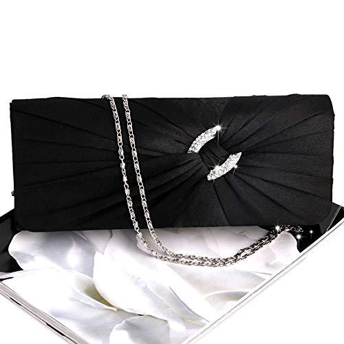 de Plateado Diamantes de para 8 Mano de de Raso imitación Mano Novia Bolso Cadena de Mujer 25 Mano Noche Bolso x Bolso con Mano Bolso para Negro 7 3cm de JAGENIE con 5 x 15 4Tqw56nRW
