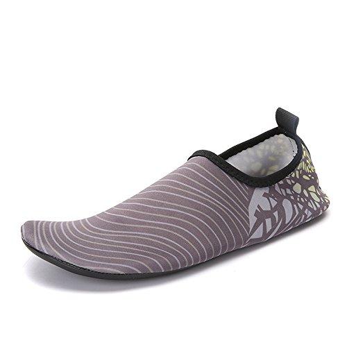 Lucdespo Zapatos de natación, a pie de la playa de las arenas, vadeando zapatos, gimnasio al aire libre, transpirable y de secado rápido de Yoga zapatos. A-8 gris