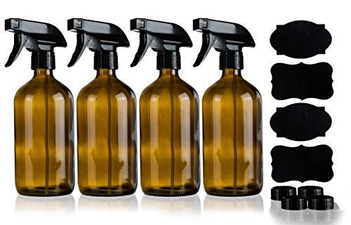 Homeries Empty Amber Spray Bottles 16 oz, Refillable Sprayer for Essential Oil, Cleaning, Water, Kitchen, Hair. Environment Friendly Mist Sprayer (4 Pack)