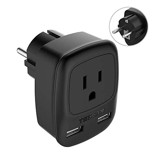 Germany France Travel Plug Adapter Type E/F, TESSAN Schuko Grounded Electrical Adaptor with 2 USB Ports, European Power Adapter US to Europe Iceland Norway Poland Spain Russia Sweden
