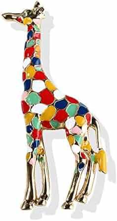 3bdaa6323 AOCHEE Enamel Giraffe Brooch for Women Girls Cute Animal Brooch Pin Jewelry