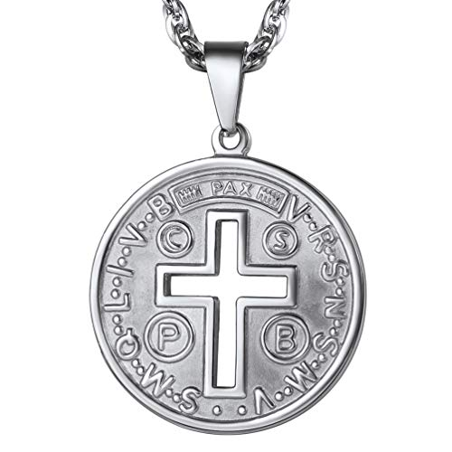 - PROSTEEL Cross of St Benedict Necklace Medalla de San Benito Men Women Jewelry Stainless Steel Round Medal Medallion Pendant & Chain