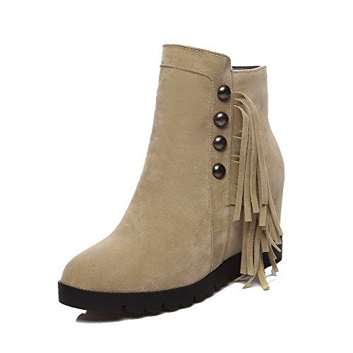 Beige Boots Round Toe AgooLar Solid Ankle high with High Tassels Closed Heels Women's Zipper ggFqAOU