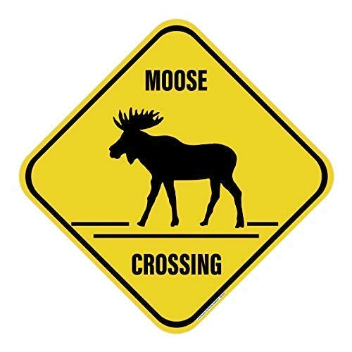 Moose Crossing Sign, Includes Holes, 3M Quality Reflective, Aluminum, 12