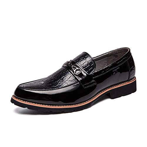 Hilotu Men's Oxford Dress Shoes Casual Loafers Personality Stitching Metal Accessories Formal Wedding Party Shoes (Color : Black, Size : 7.5 D(M) US) from Hilotu-Men's Shoes