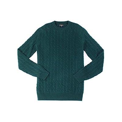 Wholesale Club Room Mens Cable-Knit Cashmere Crewneck Sweater Green Lt hot sale