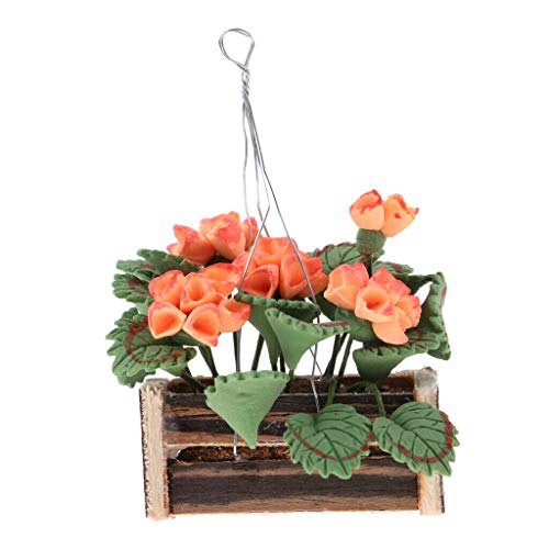 NATFUR 1/12 Dollhouse Miniature Hanging Plants Flower w/Basket Room Garden Decor