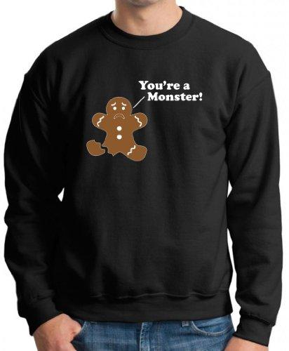 You're A Monster Gingerbread Man Premium Crewneck Sweatshirt Large Black