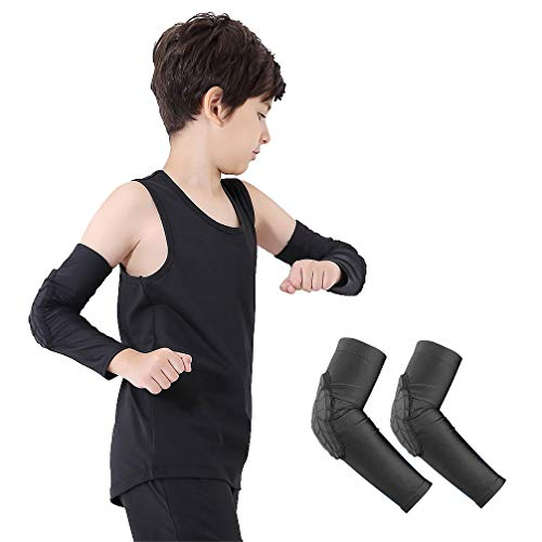 Luwint Children Volleyball Arm Pads - Boys & Girls Compression Armour Protective Elbow Guard for Football Basketball Baseball Bowling Tennis Hockey Sports, 1 Pair (Small)