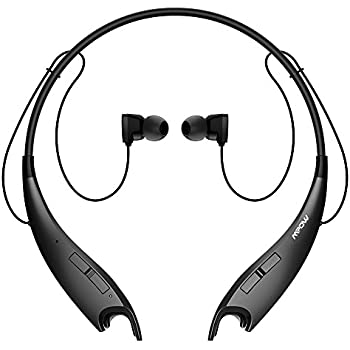 Mpow Jaws V4.1 Bluetooth Headphones Wireless Neckband Headset Stereo Noise Cancelling Earbuds w/ Mic (Black)