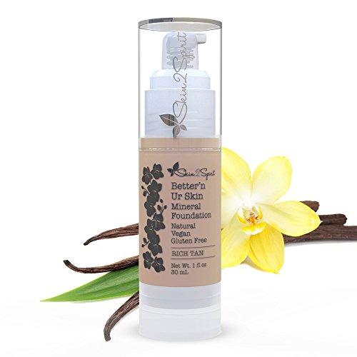 Better'n Ur Skin Organic Liquid Foundation Makeup (RICH TAN - Medium/Neutral, Old Name Almond) | Buildable Coverage | Vegan | Cruelty Free | Sun Protection | Gluten Free | Non GMO | Palm Free