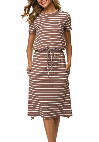 (Women's Striped Short Sleeve Casual Beach Pockets Midi Dress with Belt Coffee L)