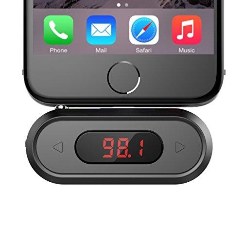 FM-Transmitter, Doosl® 3.5mm FM Transmitter mit Display Musik Empfänger für iPhone 6/5/4, iPad, iPod, Samsung Geräte und Alle Smartphones-Schwarz