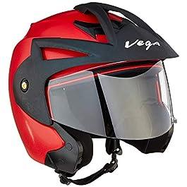 Vega Crux ABS Open Face Helmet (Red, Medium)
