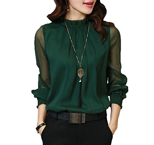Moore Womens Casual Chiffon Ladies Round Neck Long Sleeve Blouse Tops (XL, Green)
