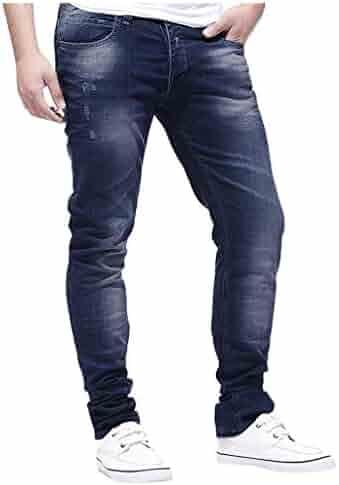 Sacherron Tech Men Slim Hole Zipper Denim Jeans Skinny Frayed Pants Distressed Rip Trousers for Mens