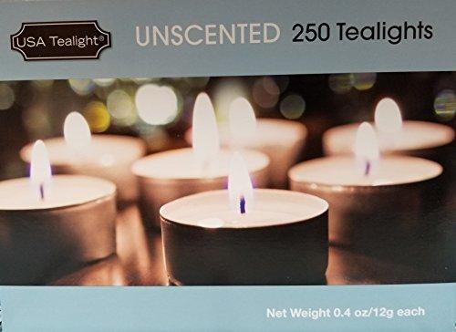 USA Tealight Unscented Candles, 3 Hour Burn Time, 250 Bulk Pack