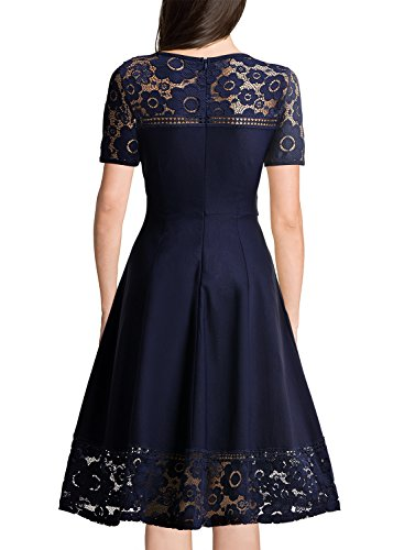 MissMay Women's Vintage 1950s Floral Lace Contrast Elegant Cocktail Swing Dress Navy Blue XX-Large by MissMay (Image #1)