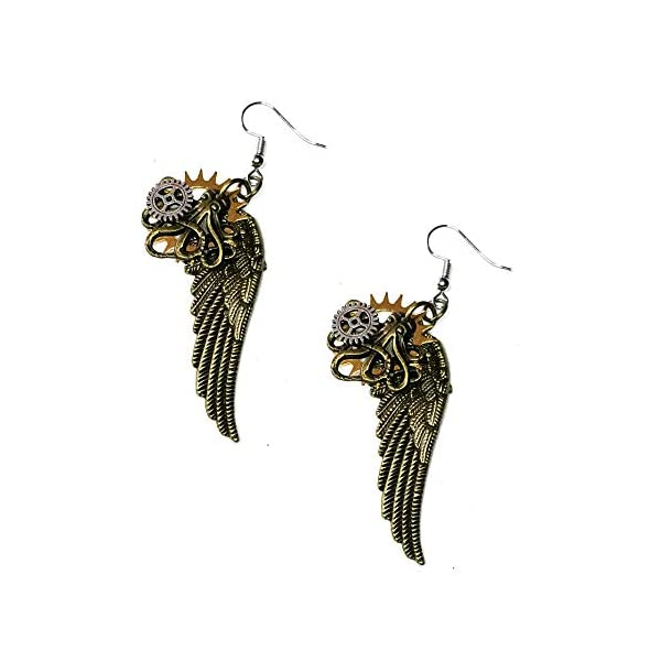Joji Boutique Steampunk Collection: Antiqued Mix-Tone Gear & Cog Angel Wing Drop Earrings 3