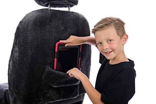 Sheepskin Car Seat Covers, Premium Set of 2, Genuine Australian Sheepskin Front, Universal Size, Back Storage Pocket, Stylish Design, Gray Color by Eden & Main (Image #2)