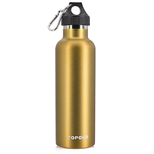 TOPOKO Top Quality Colored Non-Rusty Stainless Steel Vacuum Water Bottle Double Wall Insulated Thermos, Sports Hike Travel, Leak Proof Bottle, BPA Free, 25 oz, Gold