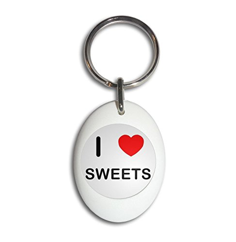 Oval Sweet (I Love Sweets - White Plastic Oval Key Ring)