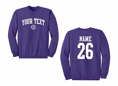 (Men's Custom Personalized Crewneck Sweatshirt, Volleyball Arched Text, Back Name & Number )