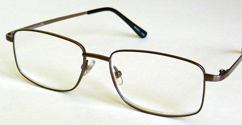 Magnivision +2.50 TITANIUM T10 Rectangular Gunmetal Wire Rim Reading Glasses - Nose Glasses For Rests