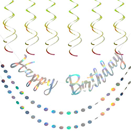 Artistrend Happy Birthday Banner Iridescent Silver Decorations Set with Garland and Swirls
