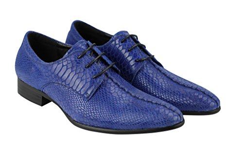 Pantalon Imprimé Peau de Serpent en Cuir Smart Casual Style Italien Parti robe en dentelle jusquBleu Oxford Chaussures
