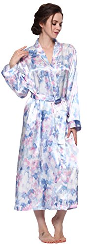 Sunrise Women's Long Classic Satin Kimono Lounge Bathrobe Robe (Large, Blue Floral Print)