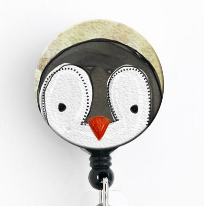 Penguin Watercolor - Retractable Badge Reel with Swivel Clip and Extra-Long 34 inch Cord - Badge Holder