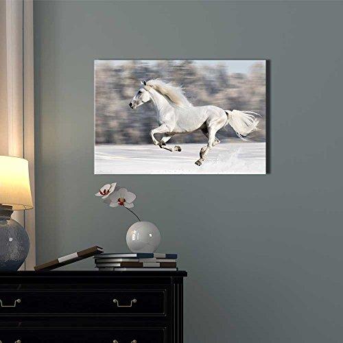 White Horse Runs Gallop in Winter Wall Decor