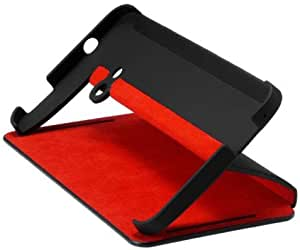 HTC Double Dip Flip Case for HTC One M7 - Retail Packaging - Black/Red