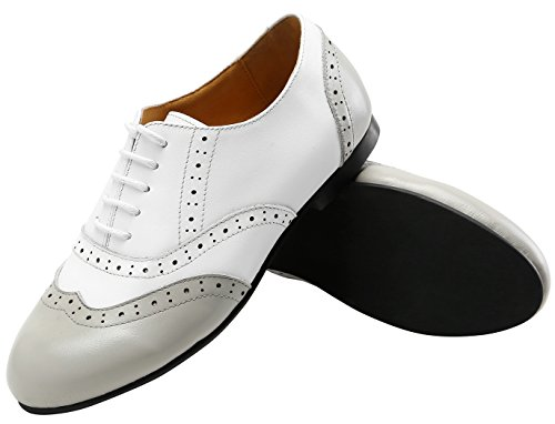 U-lite Ladys Two Tone Genuine Leather Perforated Wing Tip Lace Up Flat Oxfords, Very Comfortable Spring Summer Shoes White Grey
