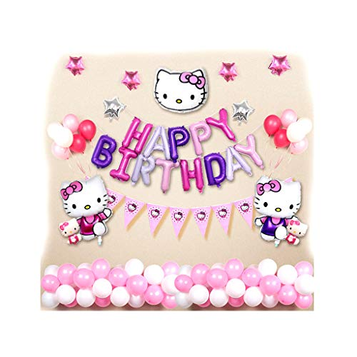 Siyushop Hello Kitty Balloon Set, Kt Cat Girl One Year Birthday Party Theme Decoration Decoration Supplies - Perfect Birthday Party Decoration Balloons Girls (Color : 3)